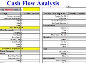 Cash Flow Analysis Worksheet Template Motherhealth Llc Senior Home