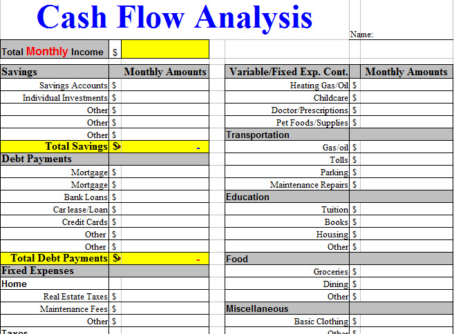 Cash Flow Analysis Worksheet Template  Brain Disease  Senior Care