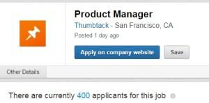 400 applicants PM for Thumbtack