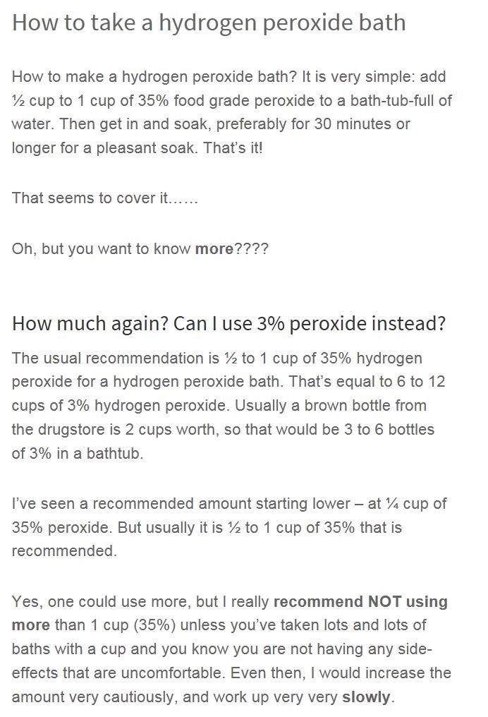 hydrogen peroxide baths