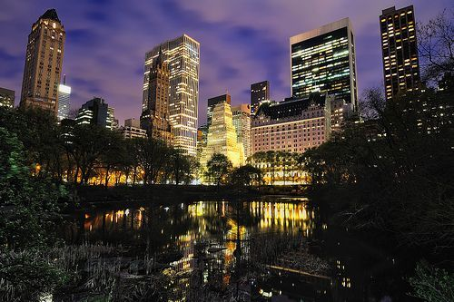 The Pond, Central Park, at Night, New York City