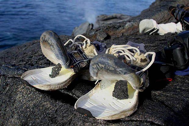 zapatillas despues de pisar lava