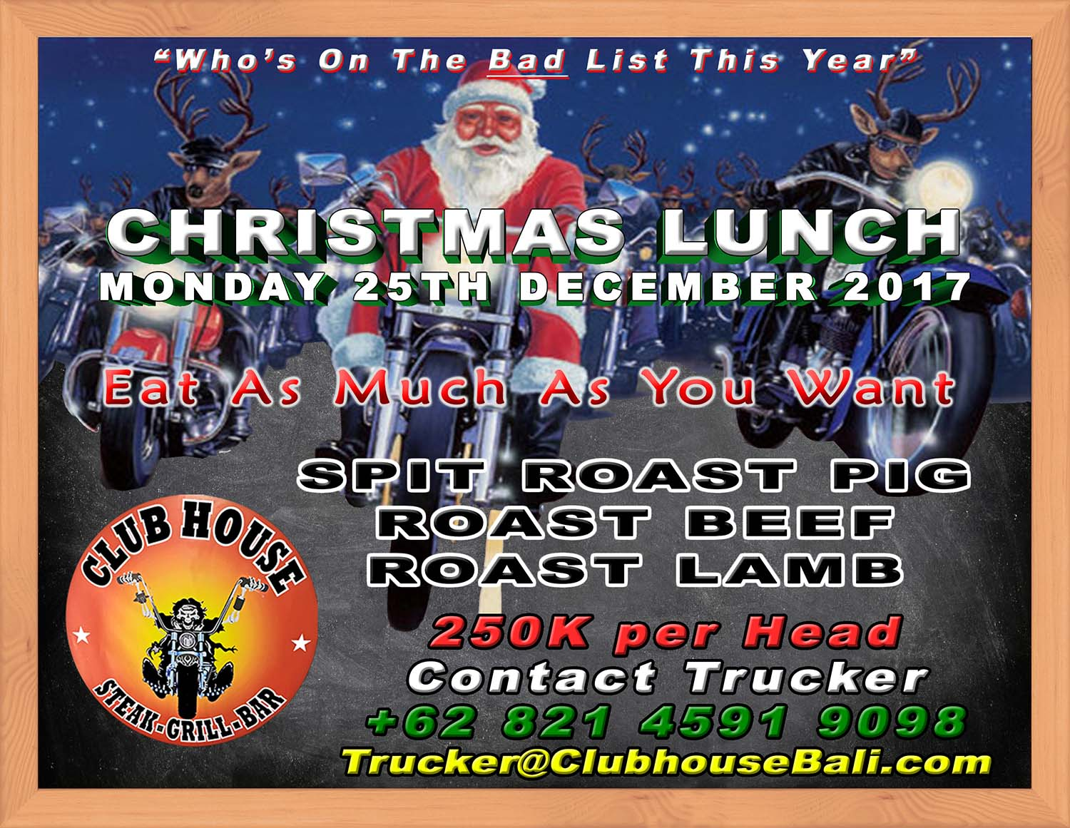 Come Join Us For Christmas Lunch At the Clubhouse Sanur