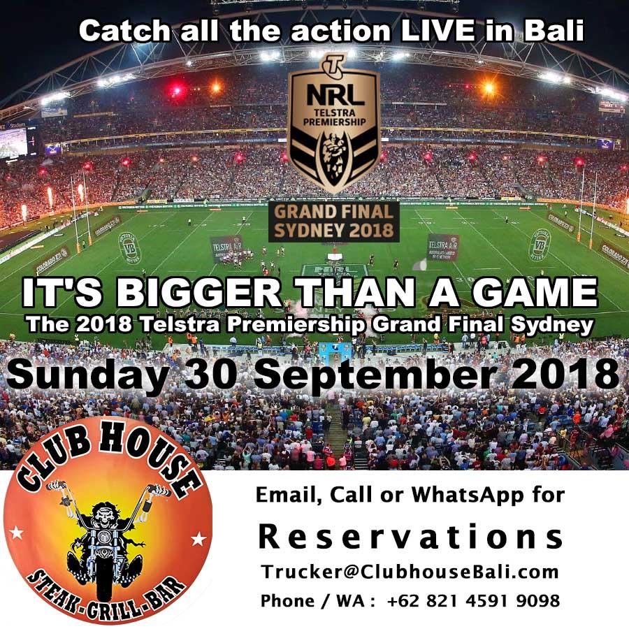2018 NRL Grand Final Clubhouse Sanur Bali