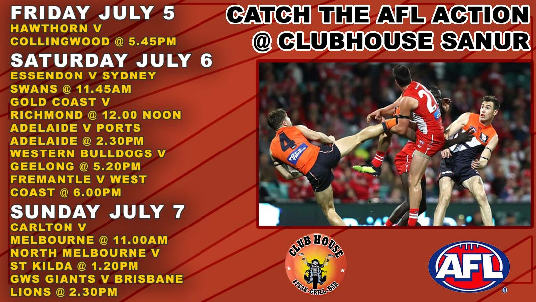 Catch the AFL LIVE in Bali at the Clubhouse in Sanur