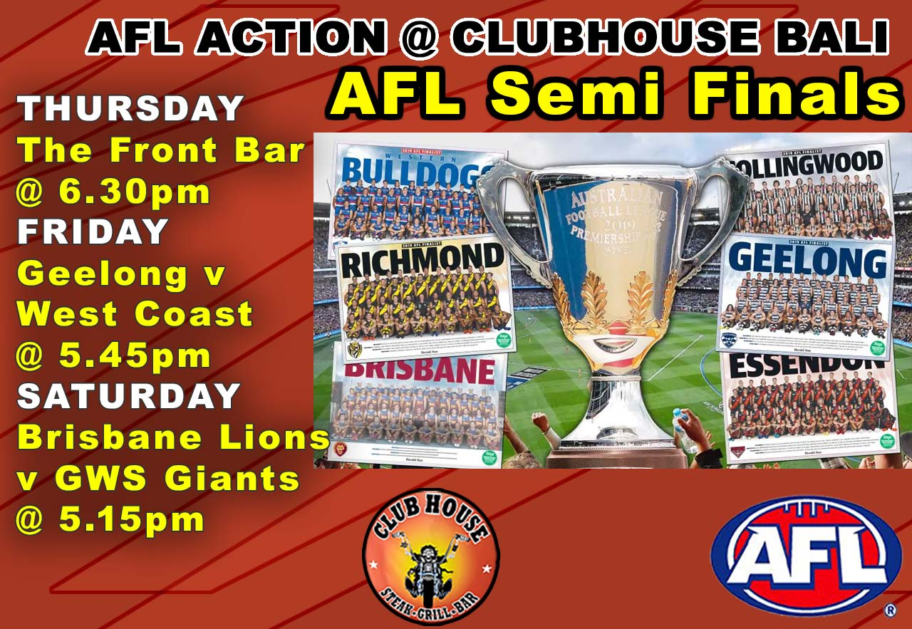 AFL Semi Finals LIVE at the Clubhouse Bali in Sanur