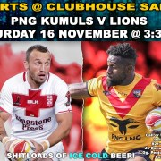 Clubhouse Sanur Sports Rugby Tests PNG Kumuls vs Lions