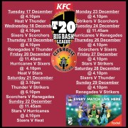 Clubhouse Big Bash League Sports Schedule