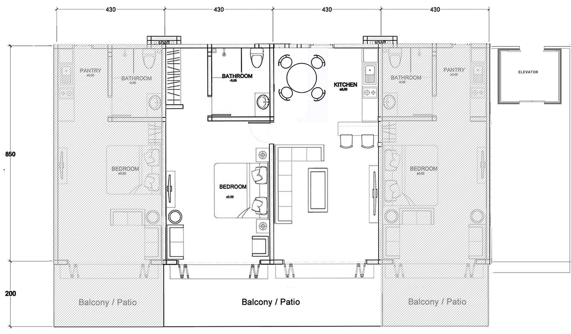 Layout One Bedroom Floorplan Clubhouse Bali Condos