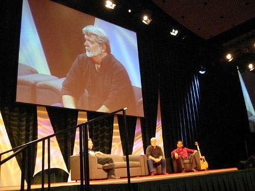 George Lucas (with Rick McCallum and Jay Laga'aia) at Celebration III in Indianapolis / Photo by Bonnie Burton / starwarsblog @ Flickr.com