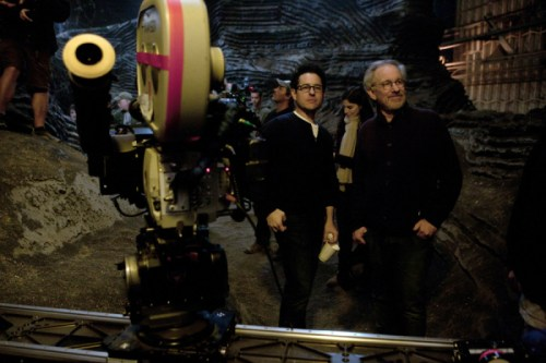 J.J. Abrams with Steven Spielberg on the set of Super 8
