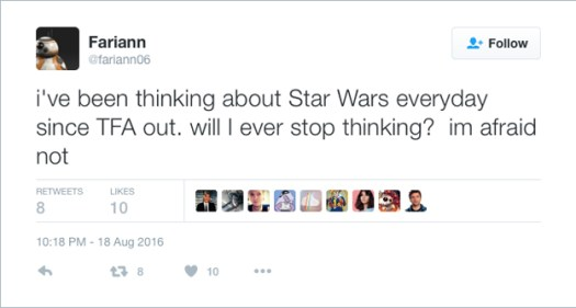@fariann06: i've been thinking about Star Wars everyday since TFA out. will I ever stop thinking?  im afraid not