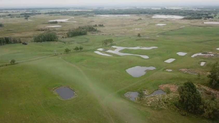 Ariel view of Club Mead Labradors training property in Central Alberta