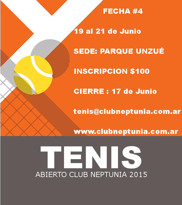 Tenis: Inscripción Abierta para la 4ta. Fecha del Abierto del Club Neptunia