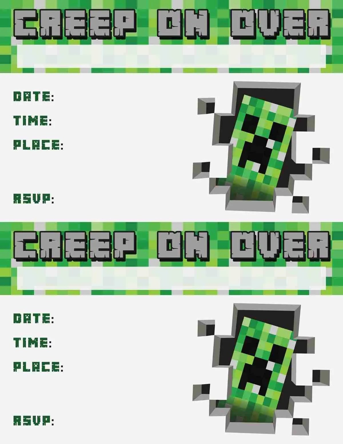 picture about Free Printable Minecraft Invitations identify minecraft invitation no cost