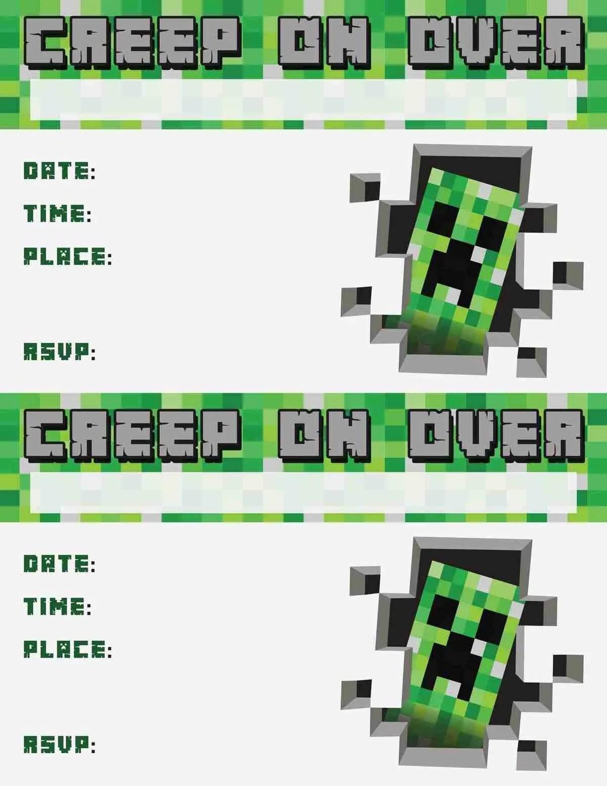 picture about Free Printable Minecraft Invitations identify minecraft invitation no cost