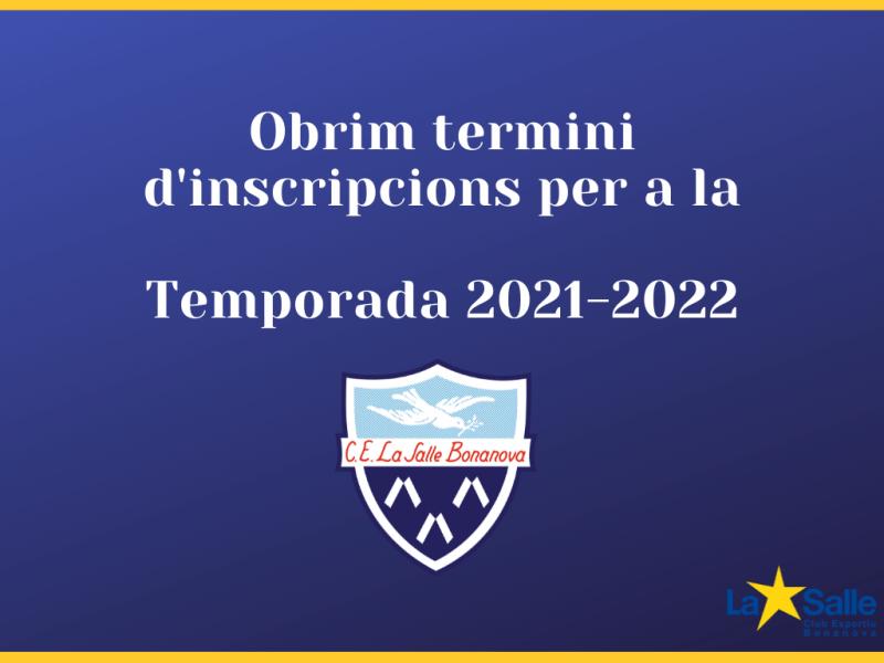 Inscripcions Temporada 2021-2022