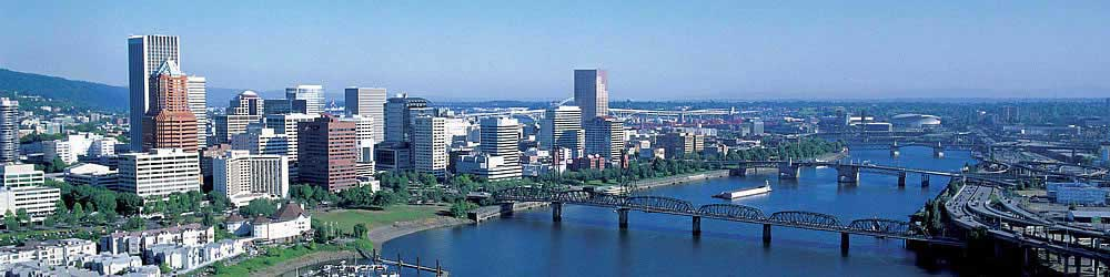 Get your questions about cannabis answered at Club Sky High. Image of Portland, Oregon skyline.