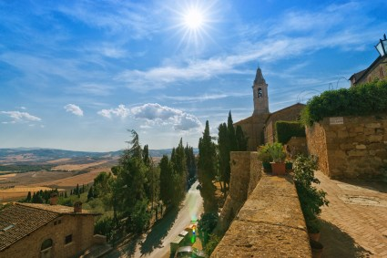 View from the City Wall of Pienza, on the summerly dry Tuscany- Landscape and Mountains. (Some Lens Flares in the lower Part)