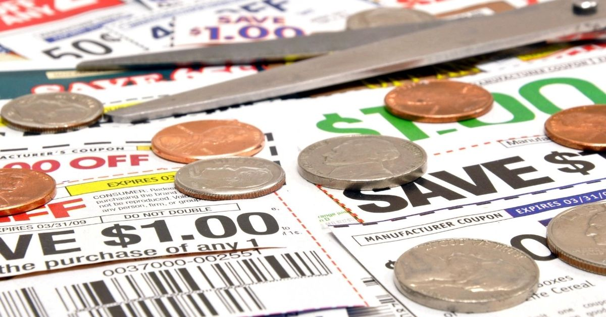 Are You an Extreme Tightwad - picture of coupons, scissors, and coins