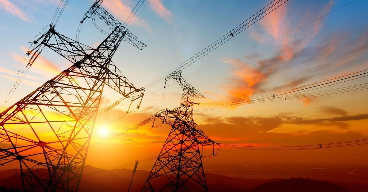 How Much Energy Are You Using - picture of high voltage towers at sunset