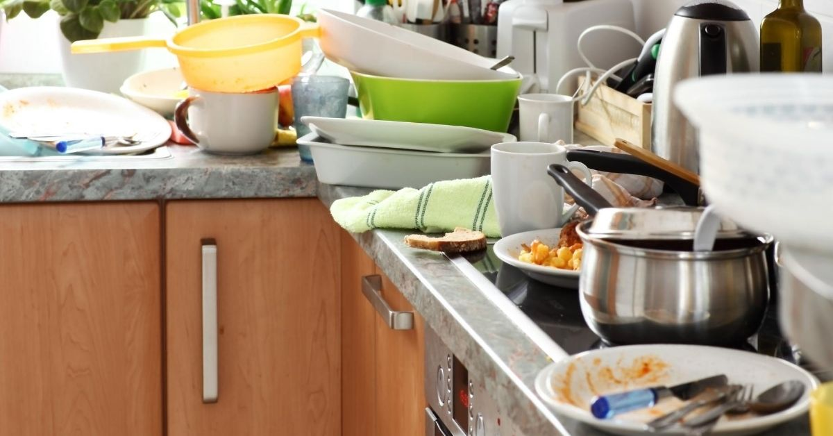 5 Ways to NOT Sell Your Home - picture of messy kitchen counter