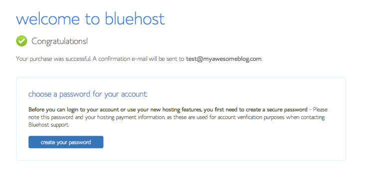 Bluehost Welcome