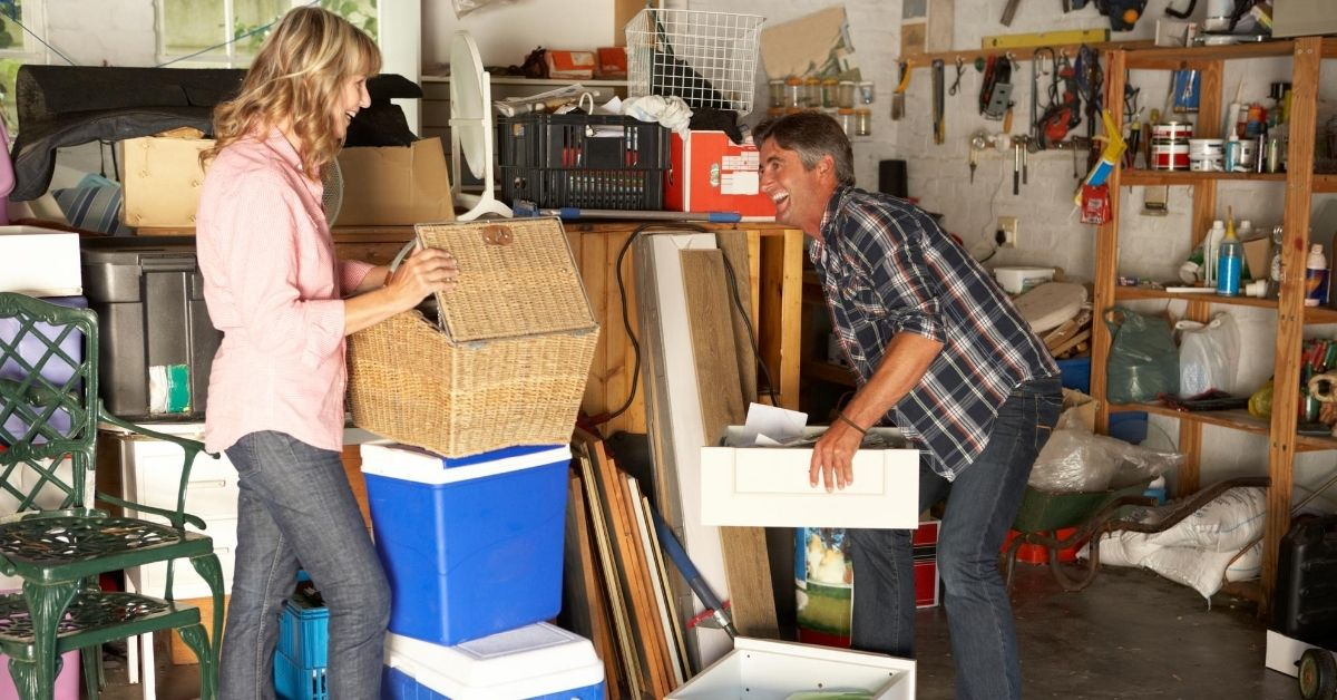 I've Got Spring Fever, Do You - picture of couple cleaning out overstuffed garage