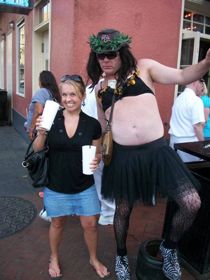 "Me and some random guy in New Orleans. He told me he felt queasy because he ""just ate a sammich."""