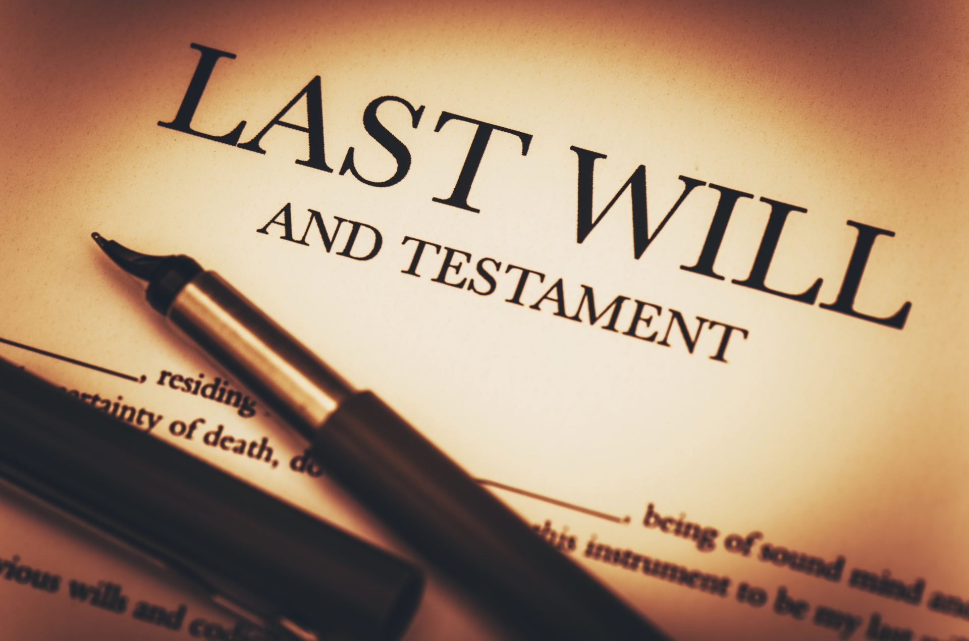 All I Will for Christmas Is - picture of last will and testament with a pen