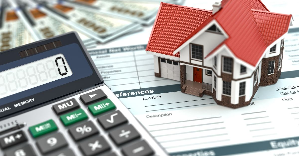 How is Credit Score Calculated - picture of calculator, miniature house, loan forms, and cash
