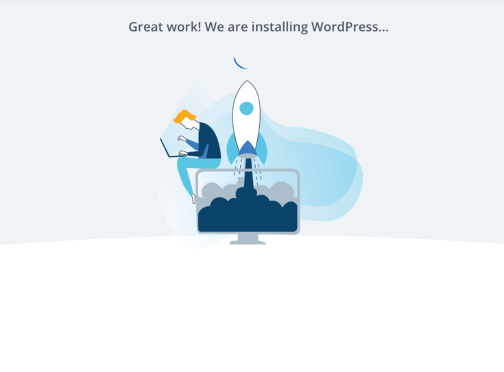 wordpress install success page at bluehost