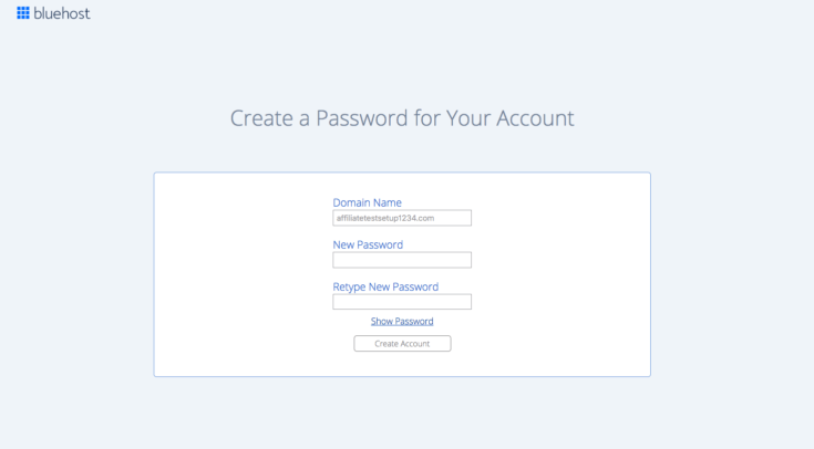 image of login screen at bluehost