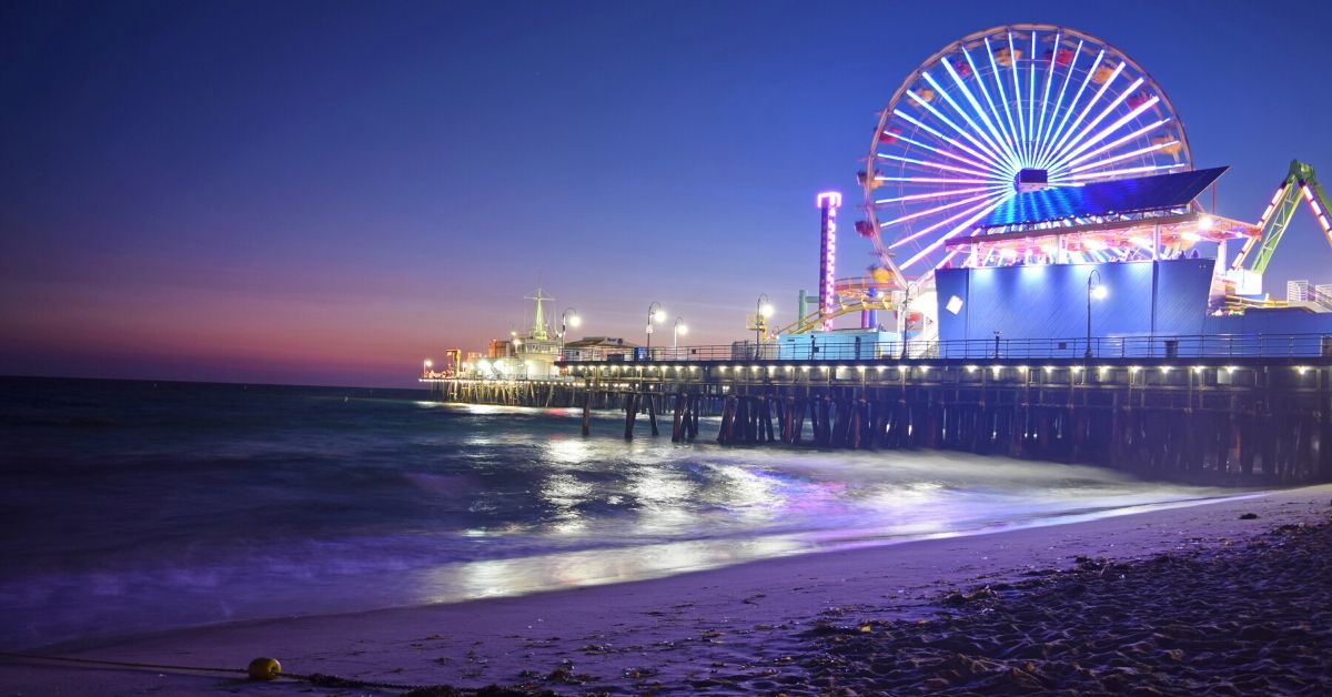 Enjoy L.A. on a Budget - picture of Santa Monica pier at night