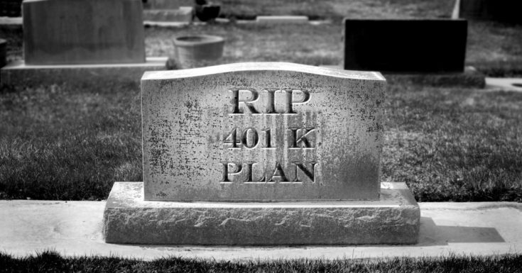 Killing 401k - picture of gravesite with RIP 401K written on front
