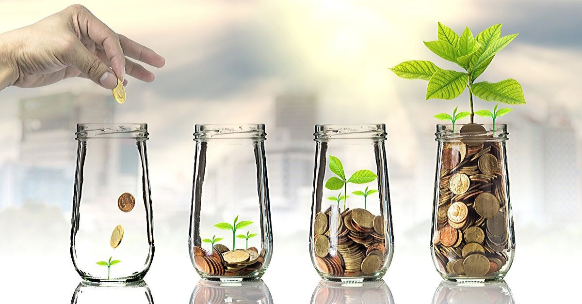 Motif Investing Review - picture of coins in jars with plants growing
