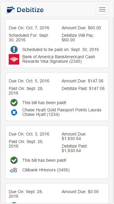 Debitize review - bills screen