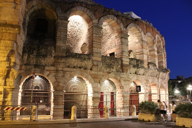 family trip to europe - verona roman arena at night