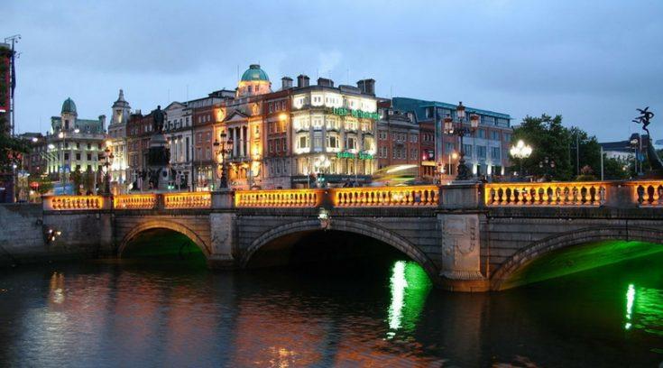 image of Dublin bridge at dusk