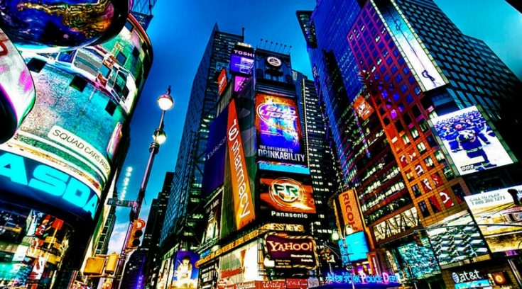 photo of Times Square at night