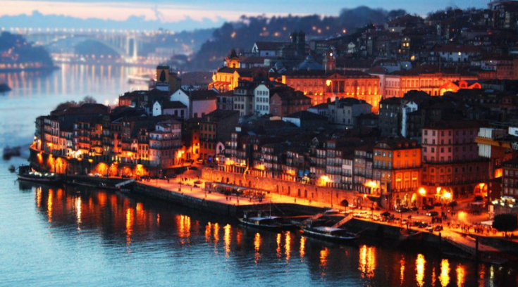 image of Porto, Portugal at dusk