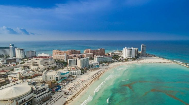 cheapest places to travel - image of hotel zone and beaches in Cancun