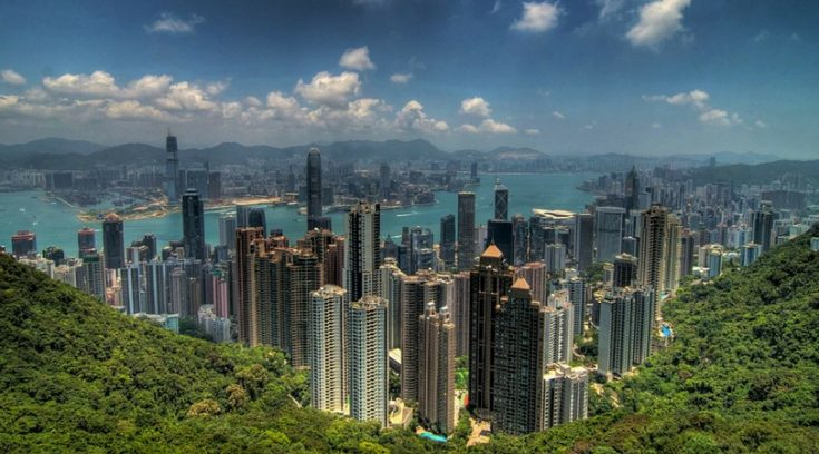 cheap places to travel in asia - view of Hong Kong skyline