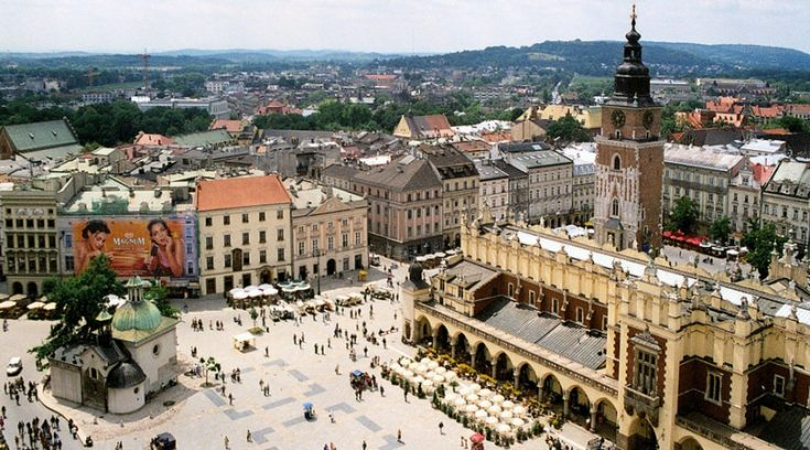 aerial view of square in Krakow