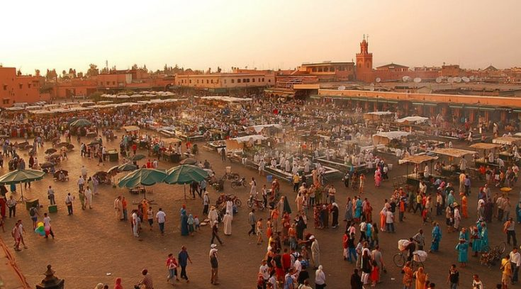 cheapest places to travel - image of market in Marrakech