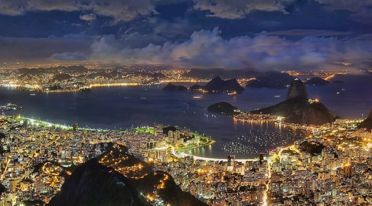 cheapest vacation spots - aerial view of Rio at night