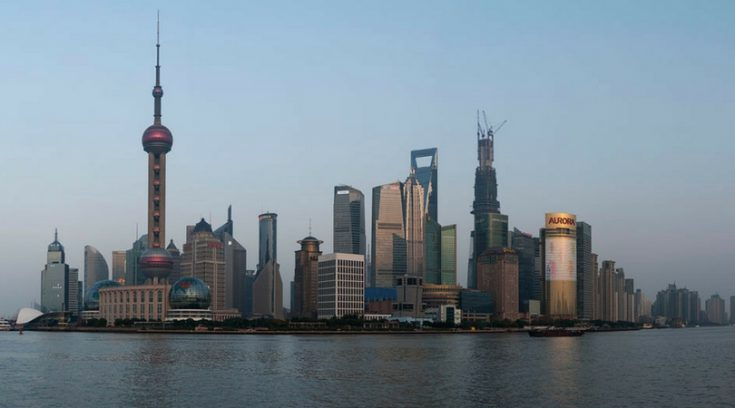 image of Shanghai skyline from water