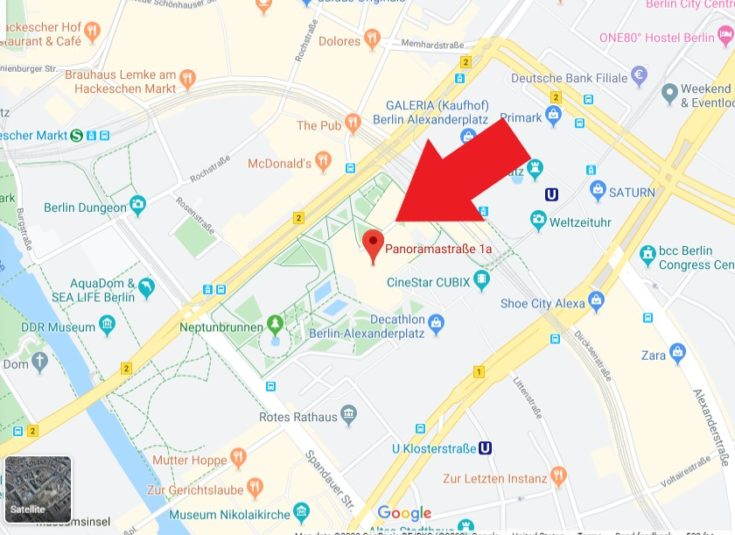 Berlin Pass Review - map of pickup location in Berlin