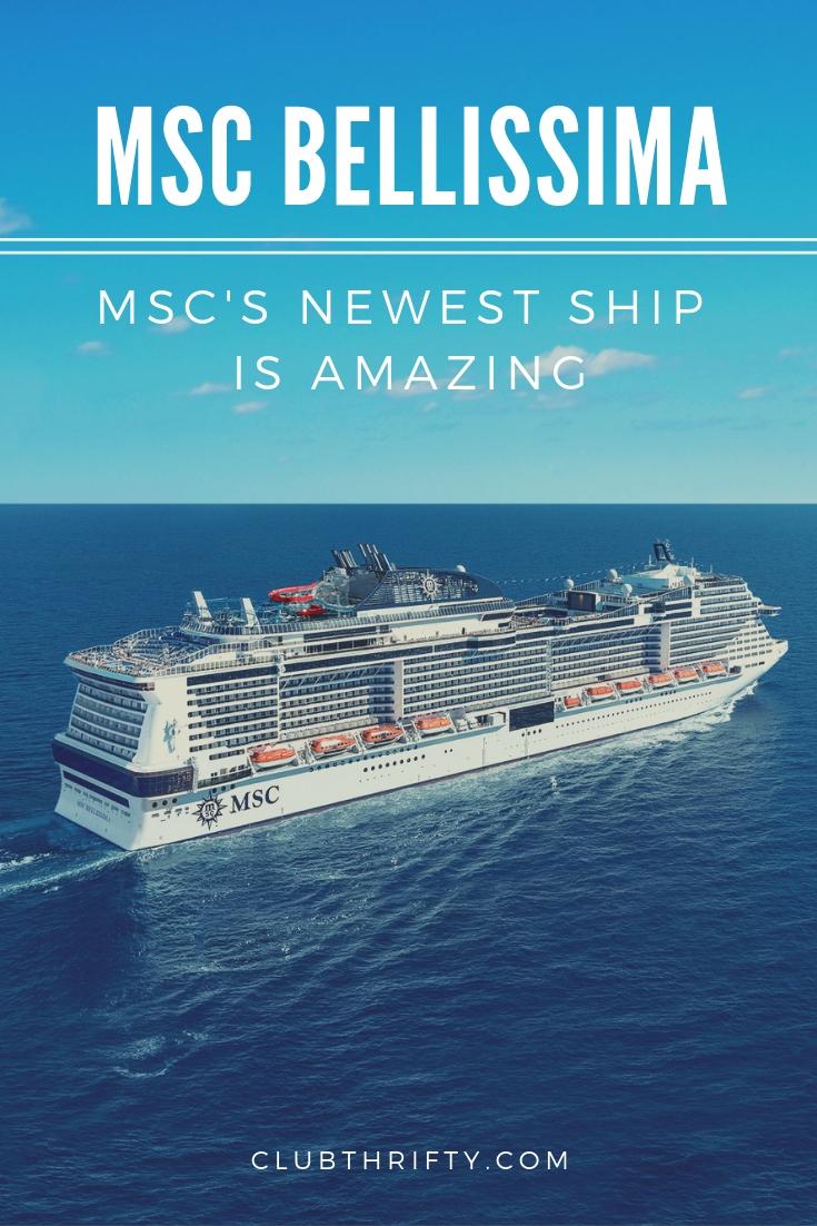 MSC Bellissima Review - Pinterest image of cruise ship on ocean