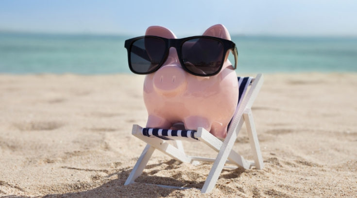 what is a high-yield savings account - photo of pig on beach with sunglasses